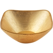 Leeber Limited Atlas Square Gold Glass Bowl, 5 in.
