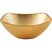 Leeber Limited Atlas Square Gold Glass Bowl, 7.5 in.