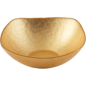 Leeber Limited Atlas Square Gold Glass Bowl, 10 in.