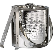 Leeber Limited Elegance Hammered Stainless Steel Double Wall Ice Bucket with Tongs