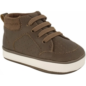 Wee Kids Infant Boys Distressed High Top Sneakers with Suede Cloth Collar