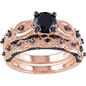 Diamore 1 3/8 CTW Black Diamond Vintage Bridal Set in 10K Rose Gold