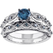 Diamore 1 CTW Blue Diamond Vintage Bridal Set in 10K White Gold