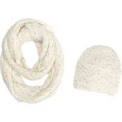New York Accessory Feather Gold Flecked Beanie and Infinity Scarf Set