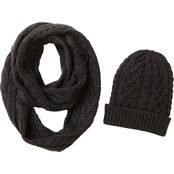 New York Accessory Twisted Cable Knit Hat and Scarf Set