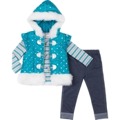 Little Lass Little Girls 3 Pc. Puffy Faux Fur Vest Set