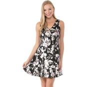 Robbie Bee V Neck Floral Print Fit and Flare Party Dress