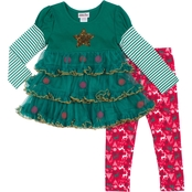 Little Lass Little Girls 2 Pc. Christmas Leggings Set