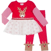 Little Lass Little Girls 2 Pc. Reindeer Leggings Set
