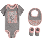 Nike Infant Girls Bodysuit, Bib, Bootie Set (0-6 months)