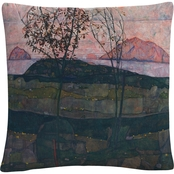 Trademark Fine Art Egon Schiele Setting Sun Decorative Throw Pillow