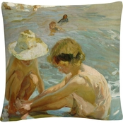 Trademark Fine Art Joaquin Sorolla The Wounded Foot Decorative Throw Pillow