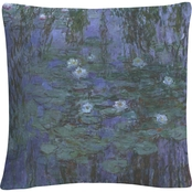 Trademark Fine Art Claude Monet Blue Water Lilies Decorative Throw Pillow
