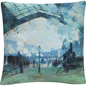 Trademark Fine Art Claude Monet Gare Saintlazare Decorative Throw Pillow