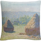 Trademark Fine Art Claude Monet Haystacks End Of Summer Decorative Throw Pillow