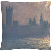 Trademark Fine Art Claude Monet Houses Of Parliament Decorative Throw Pillow