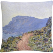 Trademark Fine Art Claude Monet La Corniche Near Monaco Decorative Throw Pillow