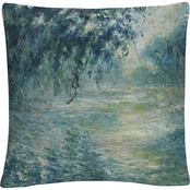 Trademark Fine Art Claude Monet Morning On The Seine Decorative Throw Pillow