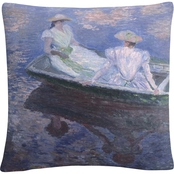Trademark Fine Art Claude Monet On The Boat Decorative Throw Pillow