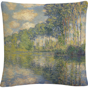 Trademark Fine Art Claude Monet Poplars On The Epte Decorative Throw Pillow