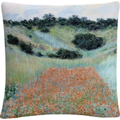 Trademark Fine Art Claude Monet Poppy Field Near Giverny Decorative Throw Pillow