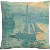 Trademark Fine Art Claude Monet Sunrise Decorative Throw Pillow