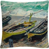 Trademark Fine Art Claude Monet Three Fishing Boats Decorative Throw Pillow