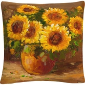 Trademark Fine Art Masters Fine Art Sunflowers Still Life Decorative Throw Pillow