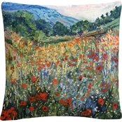Trademark Fine Art Masters Fine Art Field Of Wild Flowers Decorative Throw Pillow