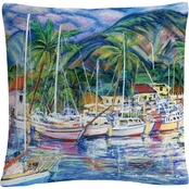 Trademark Fine Art Manor Shadian Lahaina Marina Decorative Throw Pillow