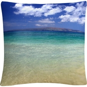 Trademark Fine Art Pierre Leclerc Hawaii Blue Beach Decorative Throw Pillow