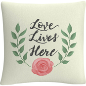 Trademark Fine Art Love Lives Here Decorative Throw Pillow