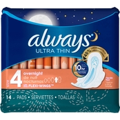 Always Ultra Thin Overnight Pads with Wings 14 ct.
