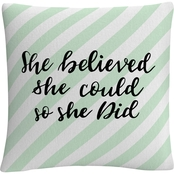 Trademark Fine Art She Believed She Could Green Decorative Throw Pillow