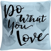 Trademark Fine Art Do What You Love Blue Decorative Throw Pillow