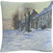 Trademark Fine Art Claude Monet Lavacourt Under Snow Decorative Throw Pillow