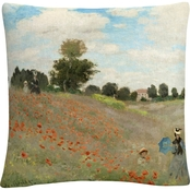 Trademark Fine Art Claude Monet Wild Poppies Near Argenteuil Throw Pillow