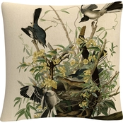 Trademark Fine Art John James Audubon Mocking Birds and Snake II Throw Pillow