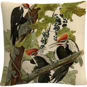 Trademark Fine Art John James Audubon Pileated Woodpeckers Decorative Throw Pillow