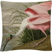 Trademark Fine Art John James Audubon Roseate Spoonbill Decorative Throw Pillow
