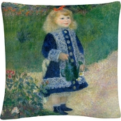 Trademark Fine Art Pierre Renoir A Girl with a Watering Can Decorative Throw Pillow
