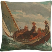 Trademark Fine Art Winslow Homer Breezing Up Decorative Throw Pillow