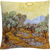Trademark Fine Art Vincent van Gogh Olive Trees Decorative Throw Pillow