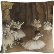 Trademark Fine Art Edgar Degas Ballet Rehearsal Decorative Throw Pillow