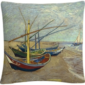 Trademark Fine Art Vincent van Gogh Fishing Boats on the Beach Throw Pillow