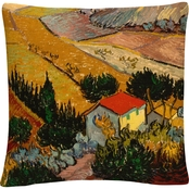 Trademark Fine Art Vincent van Gogh Landscape with House Decorative Throw Pillow
