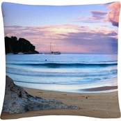 Trademark Fine Art David Evans Kaiteriteri Sunset Decorative Throw Pillow