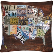 Trademark Fine Art USA License Plate Map on Wood Decorative Throw Pillow