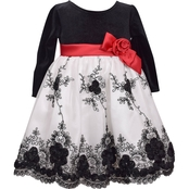 Bonnie Jean Infant Girls Border Embroidered Social Dress
