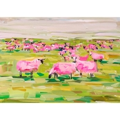 GreenBox Art Canvas Pink Sheep 18x14
